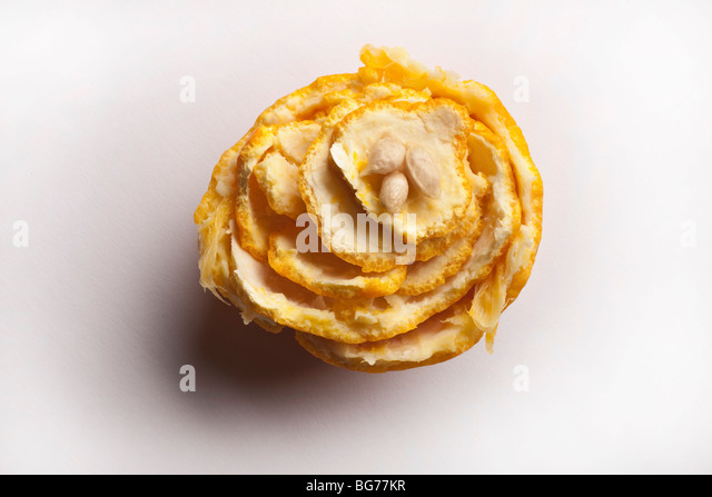 Orange peel and pips arranged in floral design - Stock-Bilder