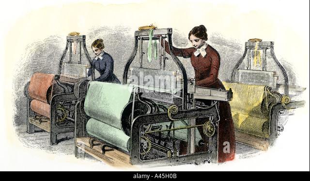Lowell girls weaving in Massachusetts textile mills 1850s - Stock Image