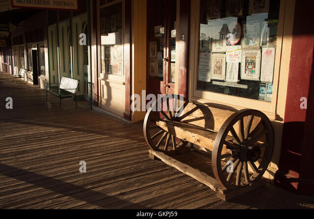 The sunsets on Main Street in Tombstone, Arizona. - Stock Image