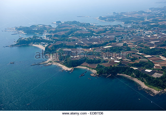 Aerial view of Miura peninsula, zone of plowing a field - Stock Image