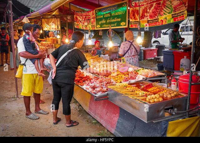 Street food market, Koh Lanta Island, Krabi, Thailand - Stock Image