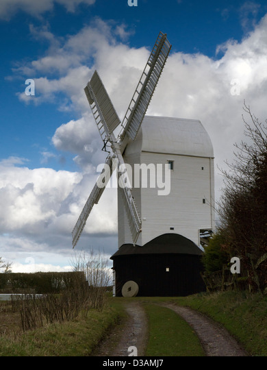 'Jill' windmill. One of two windmills (Jack and Jill) on the South Downs above Clayton village, Sussex, - Stock Image