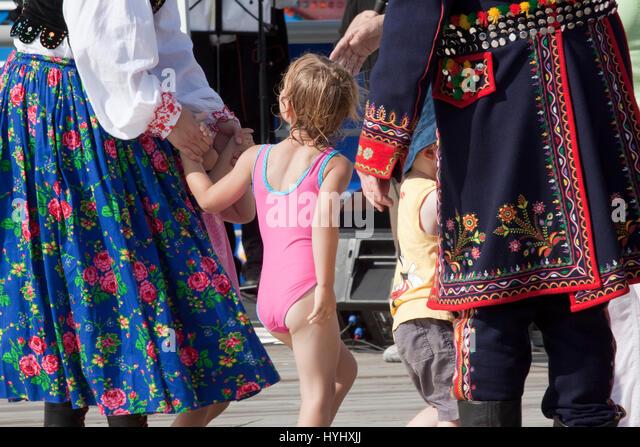 Dancing at a Polish Arts Festival - Stock Image