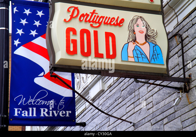 Massachusetts Fall River South Main Street sign Portuguese gold jewelry store - Stock Image