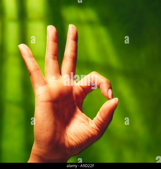 Hand sign ok - Stock Image