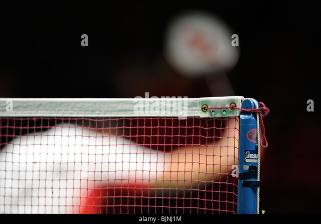 Close up detail of a badminton net at the World Championships. - Stock Image