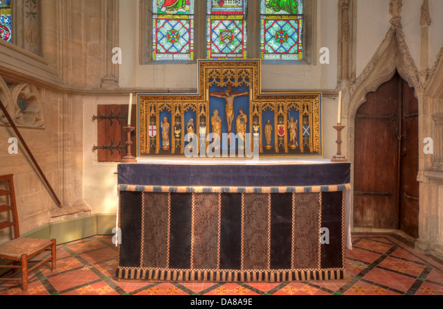 Golden Altar art from lady chapel of St Peter & St Paul, parish church, Dorchester on Thames, England, UK - Stock Image