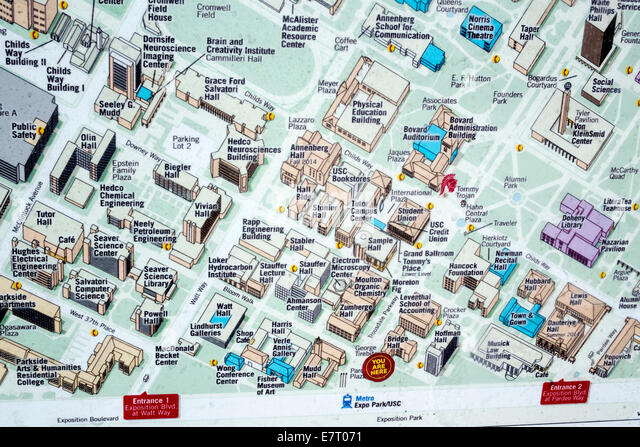 California CA Los Angeles L.A. Downtown LA USC University of Southern California university college campus map location - Stock Image