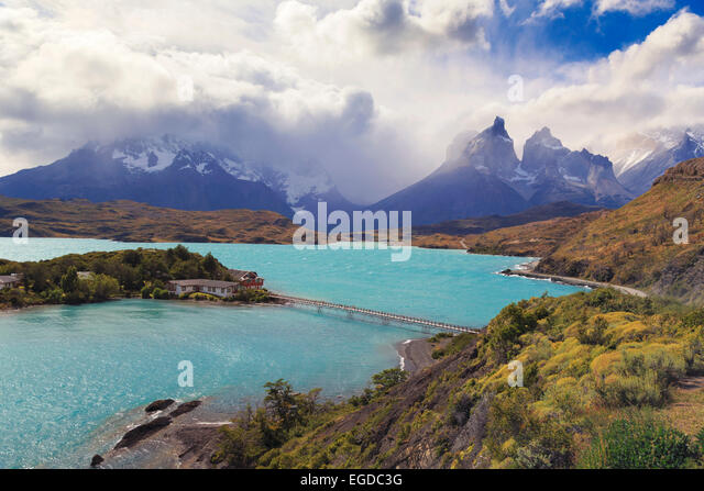 Chile, Patagonia, Torres del Paine National Park (UNESCO Site), Lake Peohe - Stock Image