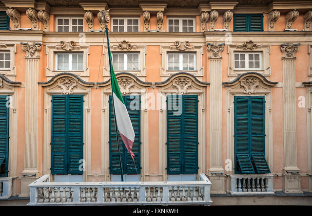 Italy Liguria Genoa - Strada Nuova, Via Garibaldi Rolli palace - Palace Luca Grimaldi -Palazzo Bianco - Stock Image