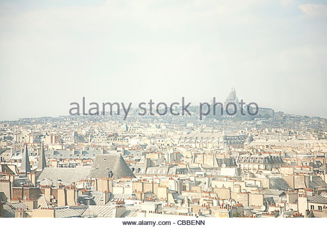 City skyline with cathedral - Stock Image