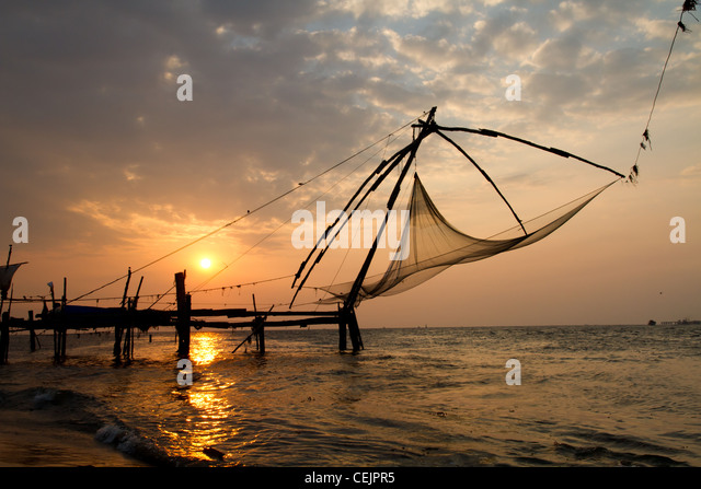 fishnets in cochin, kerala, india - Stock-Bilder