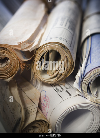 Rolled blueprints - Stock-Bilder