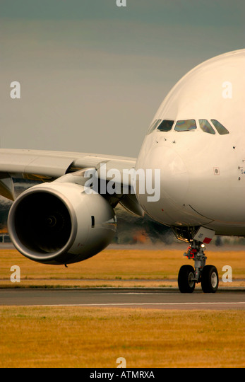 Close-up of Airbus A380 at Farnborough International Airshow 2006 UK - Stock Image