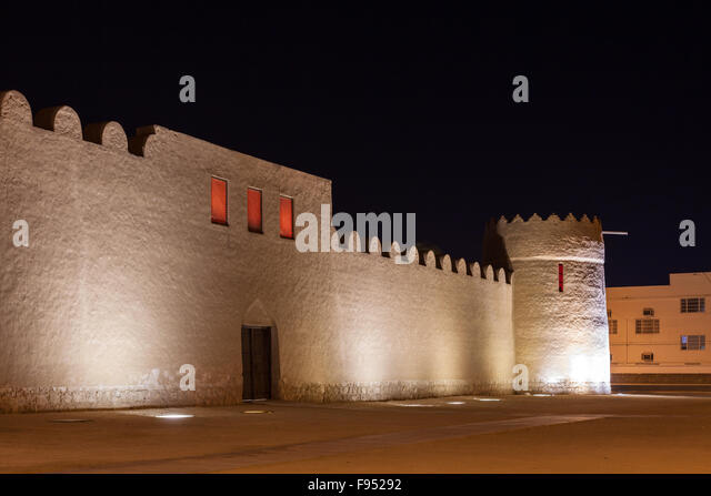 Riffa Fort at night, Kingdom of Bahrain - Stock Image