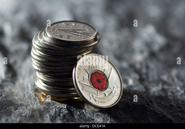 Stack Of Canadian Coins - Stock Image