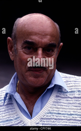 Brauner, Arthur, * 1.8.1918, Polish film producer, portrait, 1986, bald patch, moustache, 'Atze', - Stock-Bilder