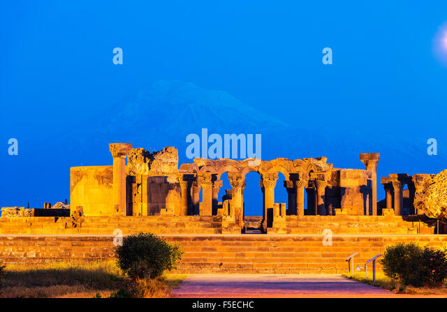 Zvartnots archaeological ruin, UNESCO World Heritage Site, Mount Ararat in Turkey behind, Armenia, Caucasus, Central - Stock Image