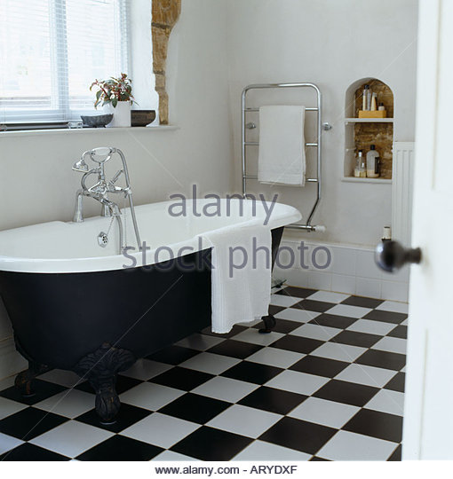 Black N White Bathroom: Chequed Stock Photos & Chequed Stock Images