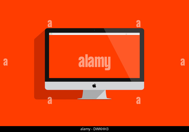 Illustration of an imac on colored background. - Stock Image