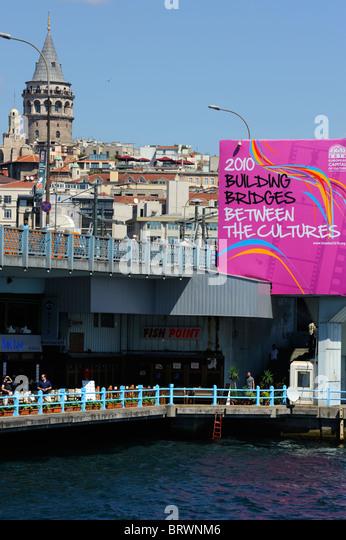 Galata Bridge and the European City of Culture 2010 - Stock-Bilder