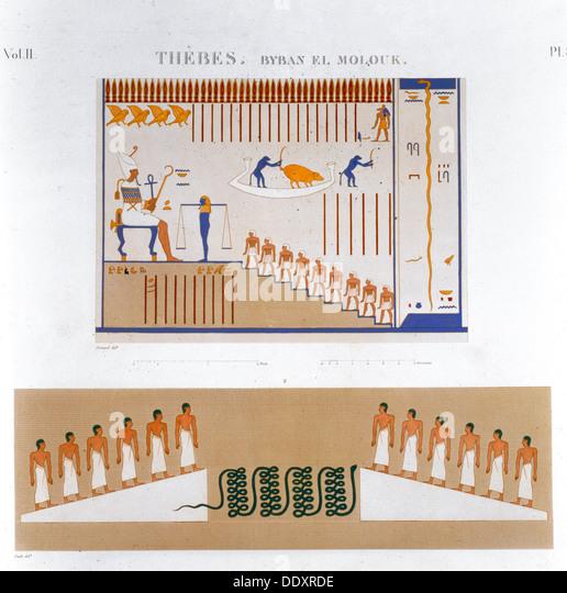 Illustrations of frescoes from Byban el Molouk, Thebes, Egypt, 1822. Artist: Jomard - Stock Image