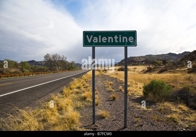 Valentine town sign near Williams Arizona USA - Stock Image