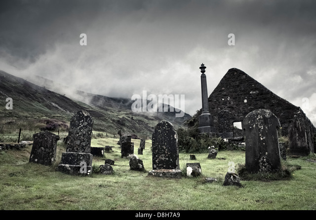 Old cemetery in the village of Dornie, Scotland - Stock Image