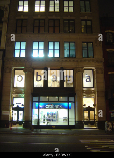 Urban Scene of word Obama on the Windows of a Building in Lower Manhattan New York City on the Eve of USA Election - Stock Image