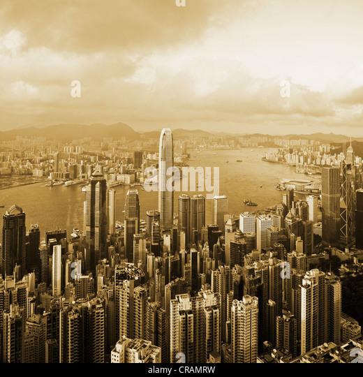 Hong Kong harbor from Victoria Peak - Stock-Bilder