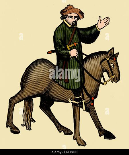 Geoffrey Chaucer ' s Canterbury Tales - The Shipman  on horseback.  English poet, c. 1343-1400. Ellesmere manuscript - Stock Image