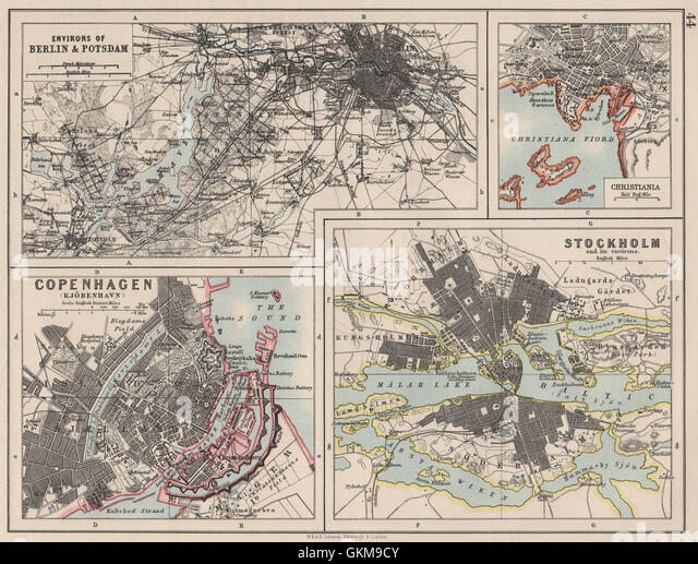 EUROPEAN CITIES. Berlin Copenhagen Stockholm Christiania/Oslo. JOHNSTON 1900 map - Stock Image