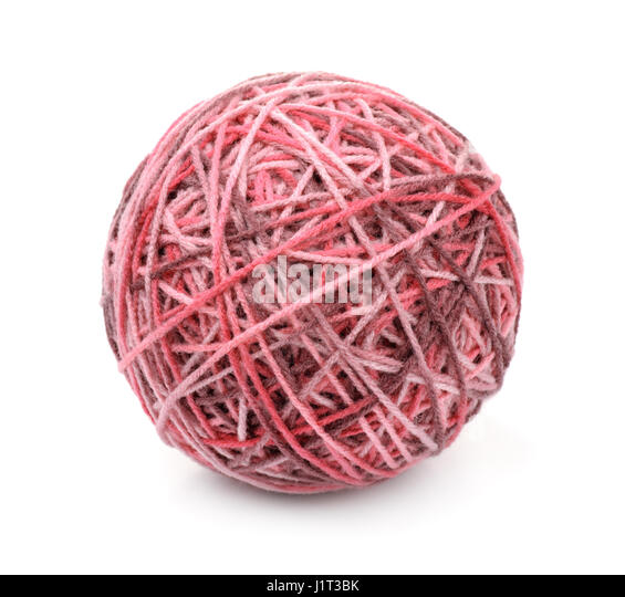 Ball of multi color acrylic hand knitting yarn isolated on white - Stock Image
