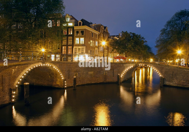 Amsterdam Gracht at twilight - Stock Image