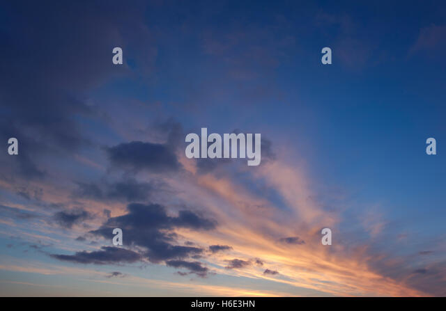 Colourful daybreak sky - Stock Image