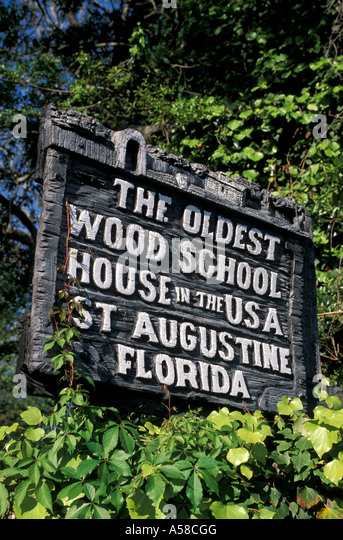 St Augustine, FL,  oldest wooden school house in the usa sign - Stock Image