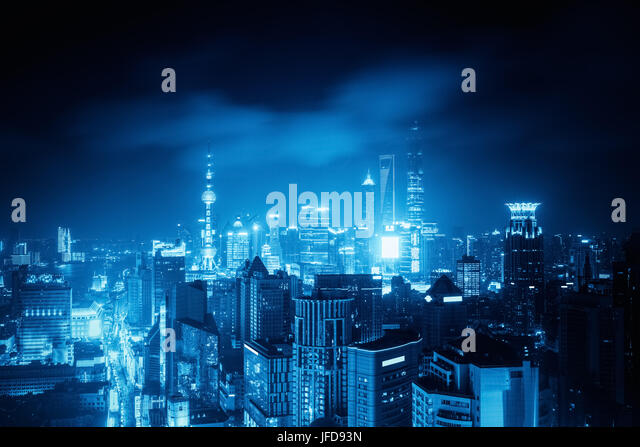 shanghai in late night with blue tone - Stock Image