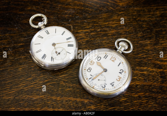 Antique World War 2 British army officers pocket watches uk - Stock Image