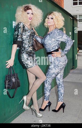 Portrait of two drag queens - Stock Image