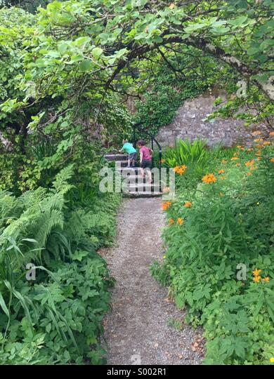 Children exploring a colourful garden in Glenveagh Co Donegal Ireland. - Stock Image