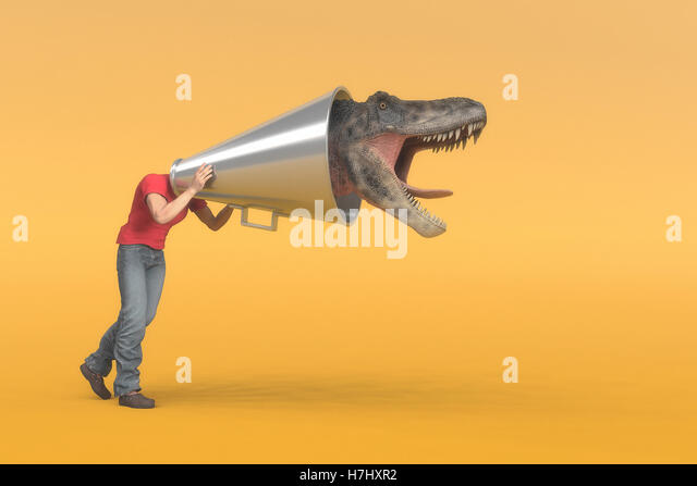 Man puts his head into a megaphone and at the end it comes out a dinosaur head screaming. This is a 3d render illustration - Stock Image