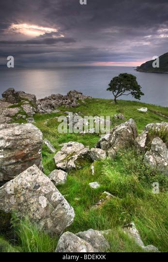Murlough Bay at dusk, Co Antrim, Northern Ireland. - Stock Image