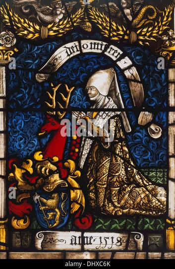 Heraldic Panel of Barbara von Zimmern, 1518, Stained glass, Germany - Stock Image
