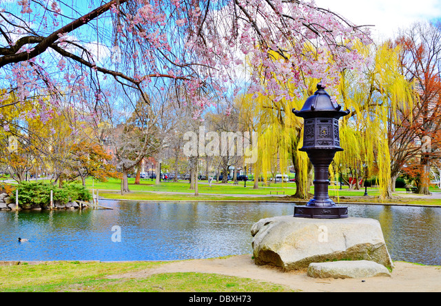 Lagoon at Boston Public Garden in Boston, Massachusetts, USA. - Stock Image