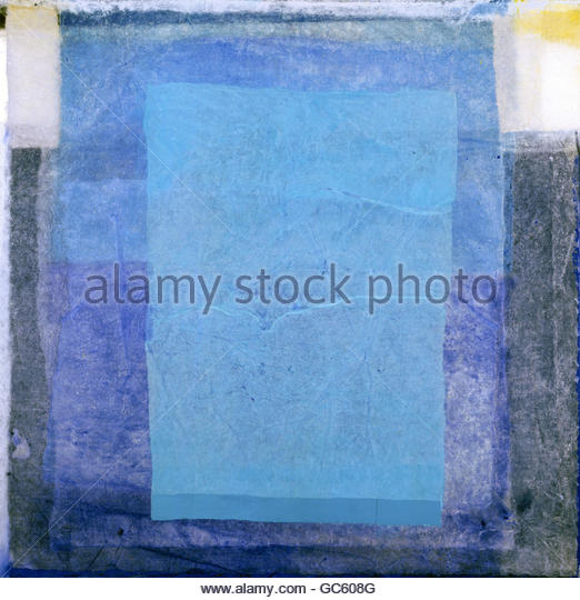 Hegetusch, Rolf (* 1948), 'Blue on each other', coloured paper on canvas, Munich 2003, 80x80 cm, Artist's - Stock Image