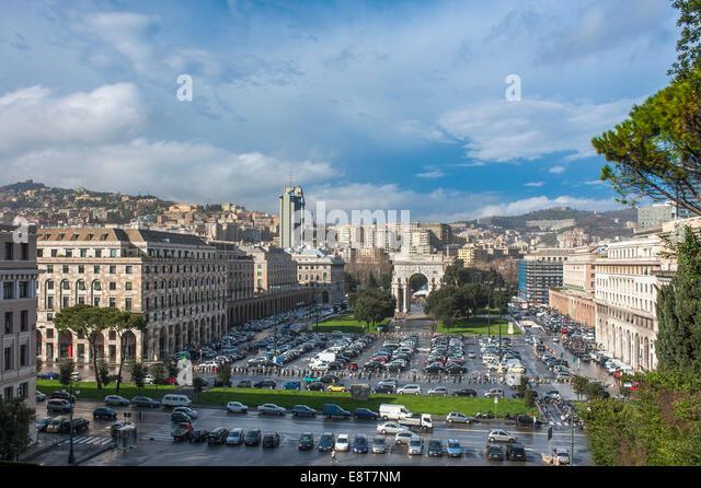 Triumphal Arch, architecture in Italian fascism under Mussolini, Piazza della Vittoria, Genoa, Liguria, Italy - Stock Image