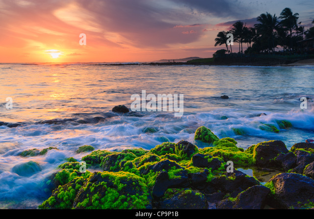Sunset at famous Poipu Beach, Kauai, Hawaii - Stock Image