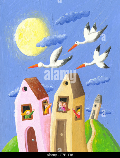 Acrylic illustration of happy people in the village waving storks - Stock Image