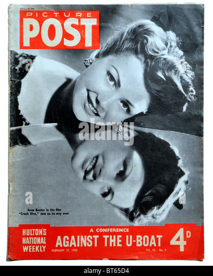 anne baxter crash dive film hollywood star film 27 february 1943 Picture Post prominent photojournalistic magazine - Stock Image