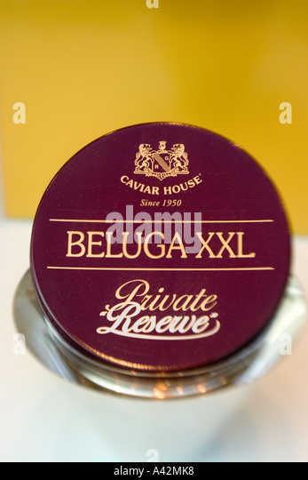 Paris France Place de la Madeleine Caviar house gourmet shop shop window with Beluga Caviar - Stock Image